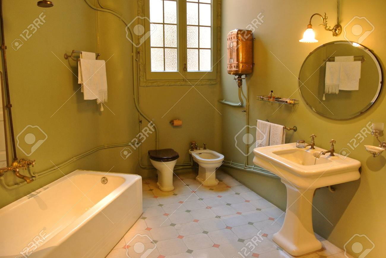 old-fashioned bathroom in la pedrera apartment stock photo