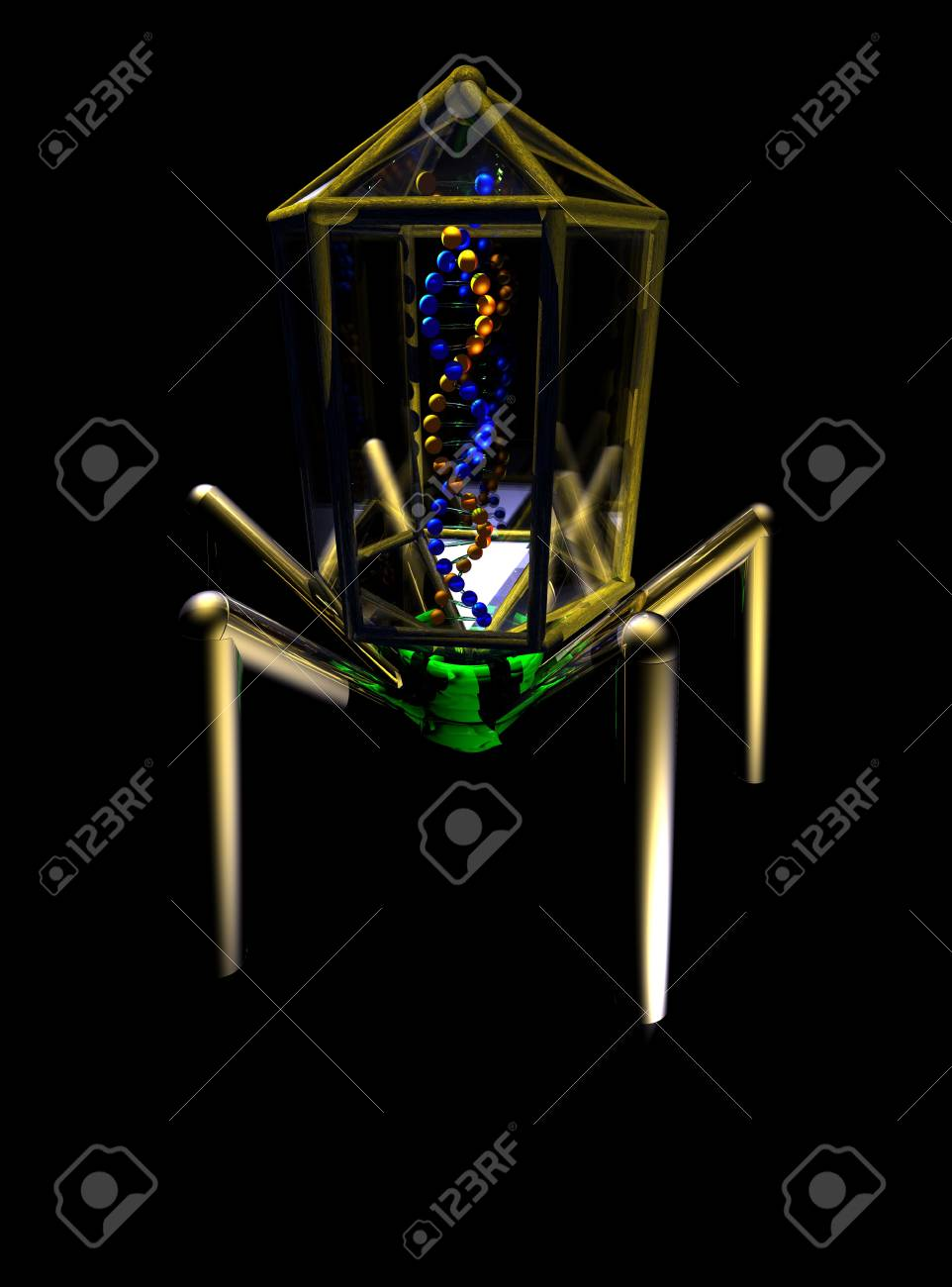 A conceptual image of a virus isolated on black. Stock Photo - 3086971