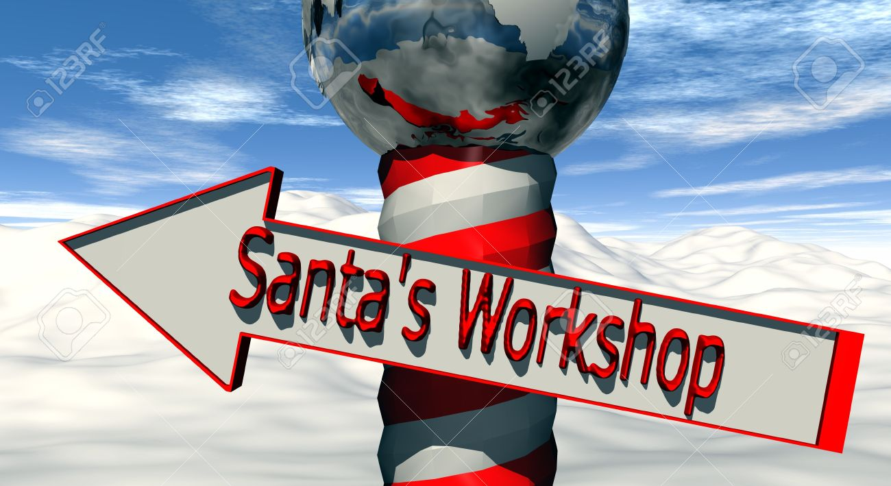 A North Pole marker with a arrow directing you to Santa�s Workshop Stock Photo - 3267041