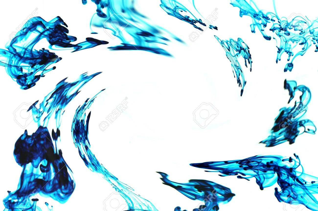 Multiple Drops Of Blue Ink Swirling To Form A Frame As They Move ...