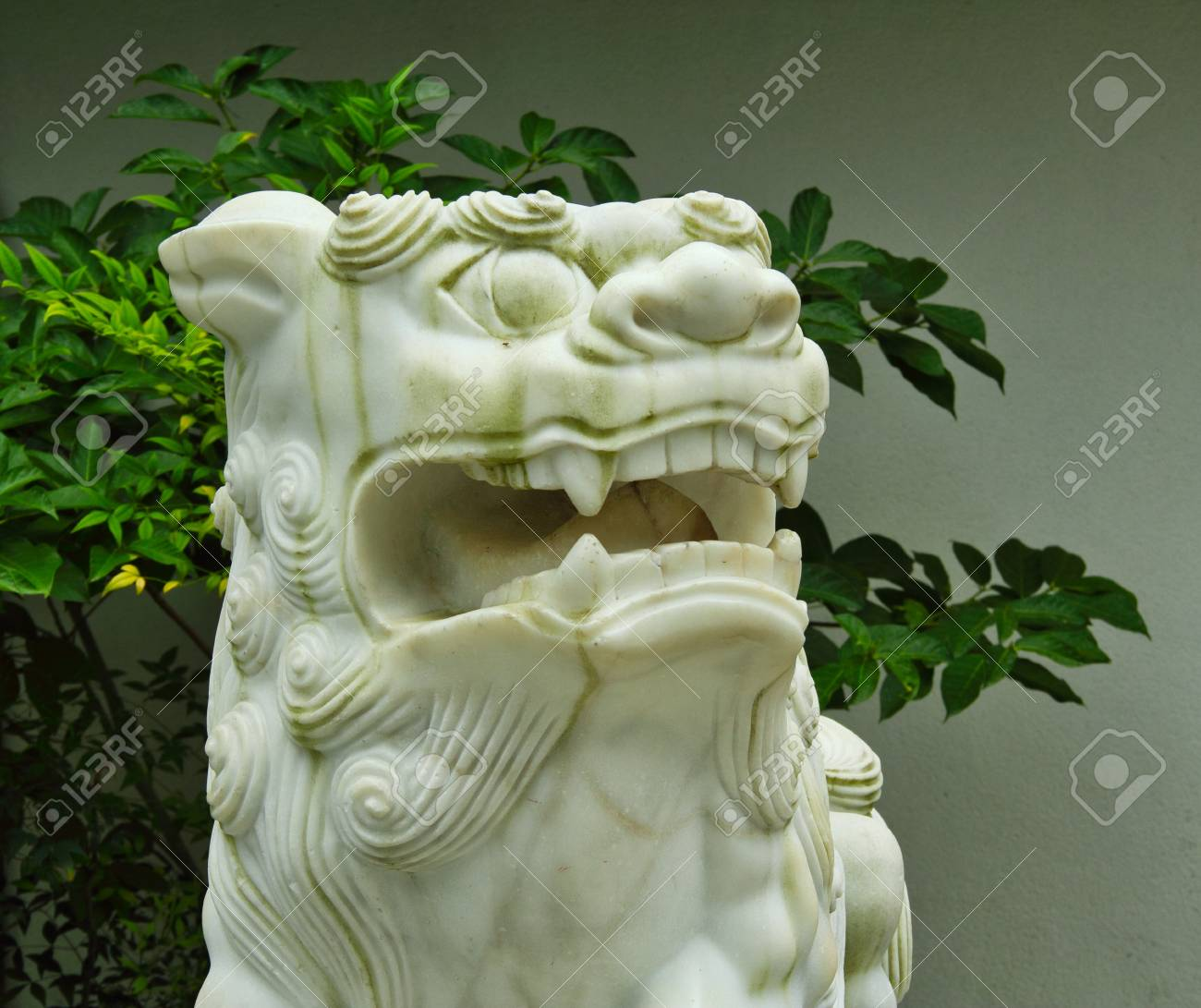 A white statue of a lion showing teeth and looking to the right