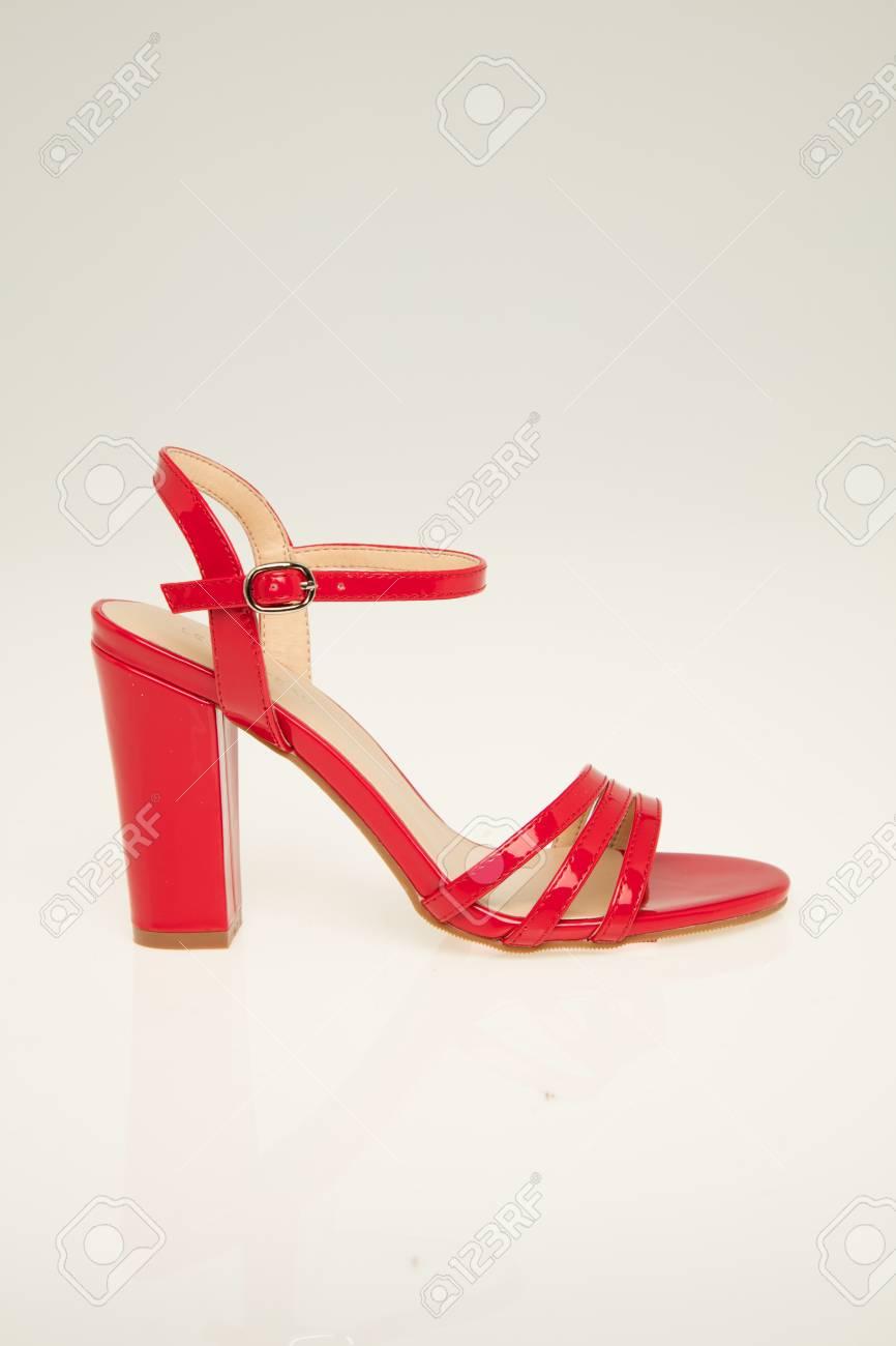 red strappy sandals heels