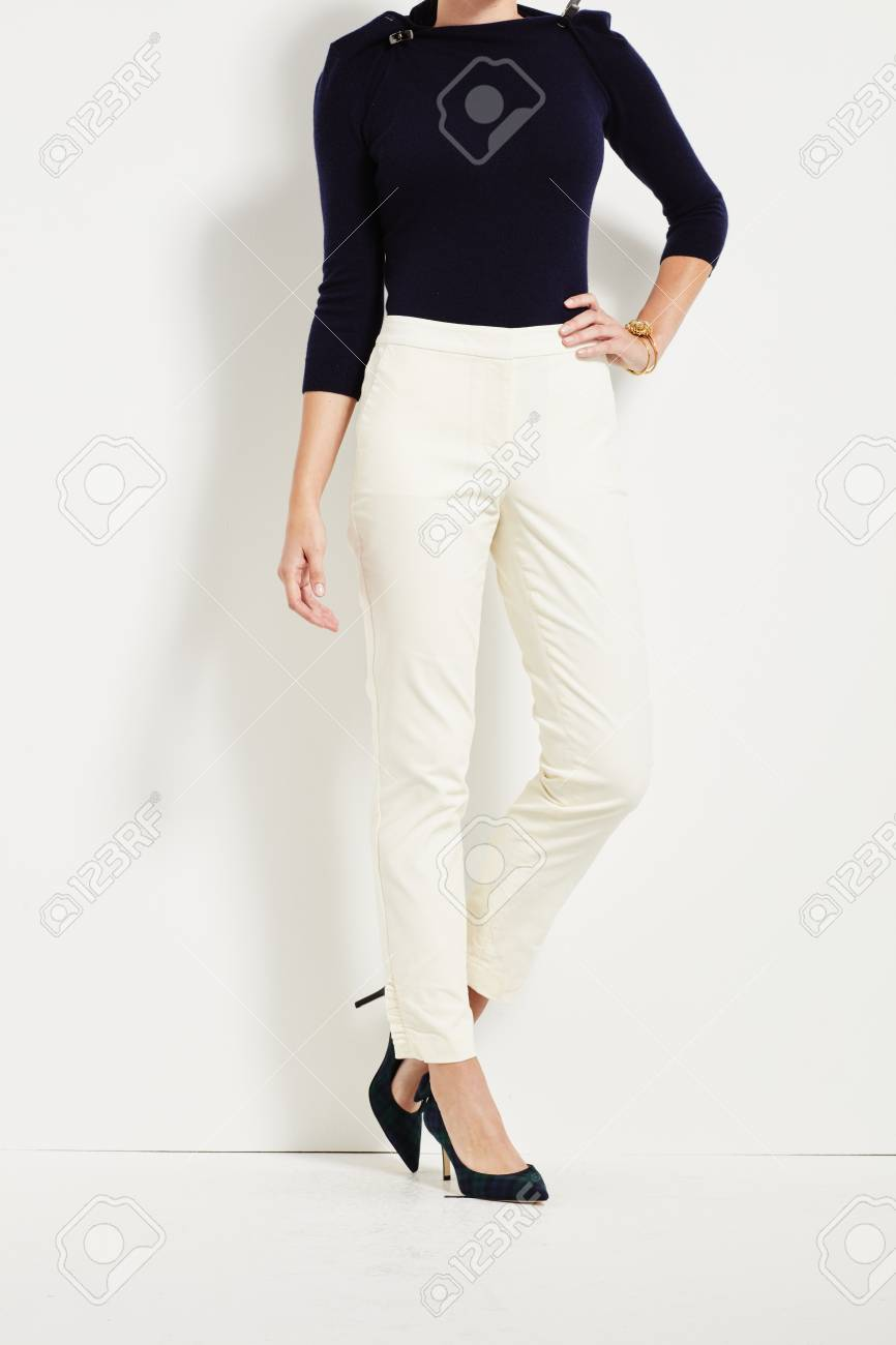 9745a2bbb085f Black Top And White Leggings Stock Photo, Picture And Royalty Free ...