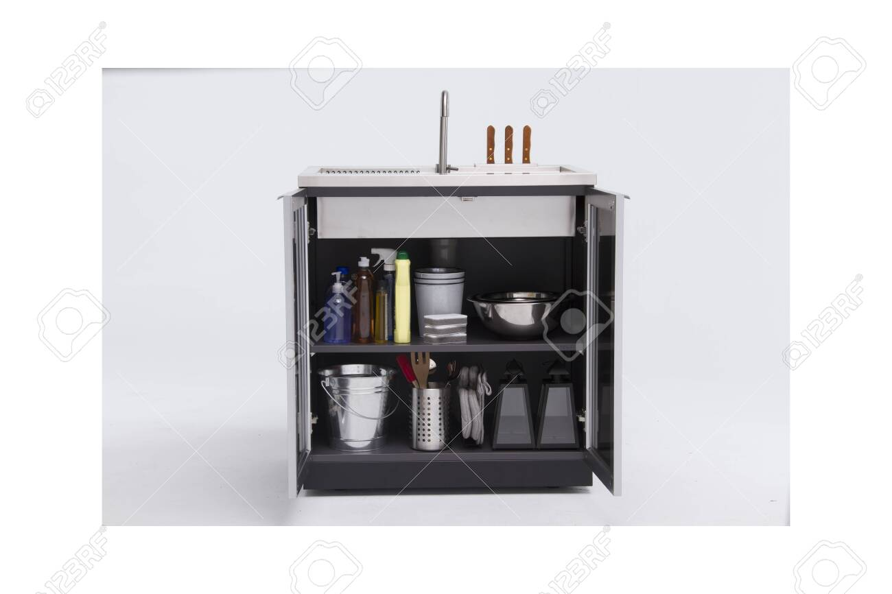 Commercial Kitchen Stainless Steel Sink Cabinet Outdoor Sinks Stock Photo Picture And Royalty Free Image Image 135443740