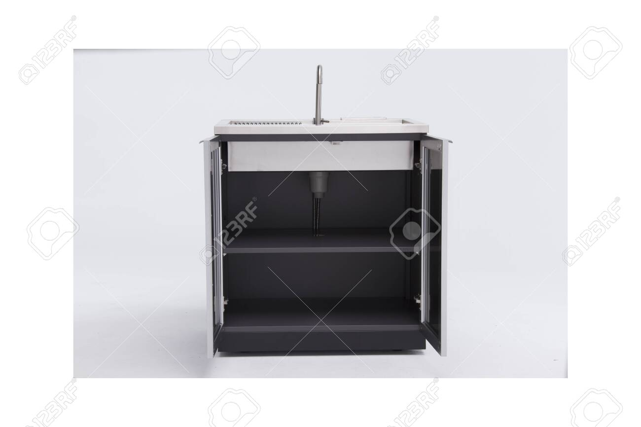 Commercial Kitchen Stainless Steel Sink Cabinet Outdoor Sinks Stock Photo Picture And Royalty Free Image Image 135210775