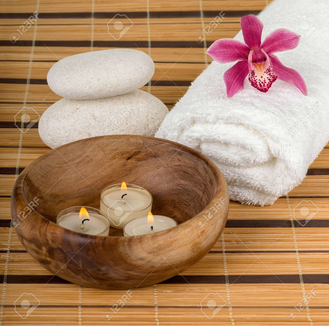 Spa Decoration With Candles, Orchid And Spa Stones Stock Photo ...