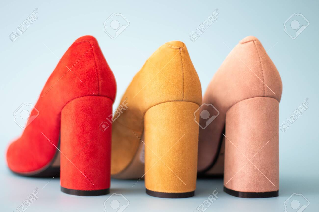 Multicolored Shoes On High-heels Back