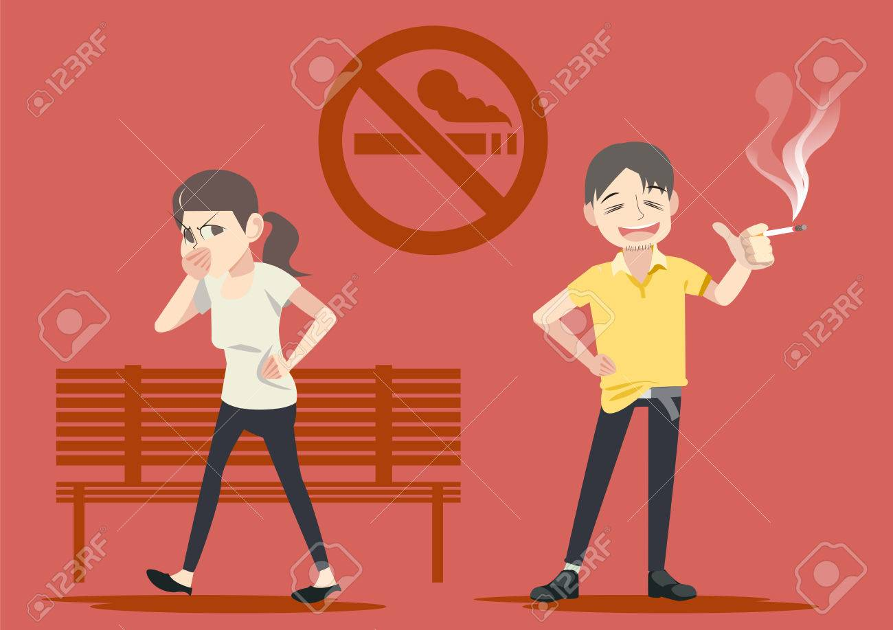 Smoking in public places. Warning in social. Failure to take care of themselves. - 85325319