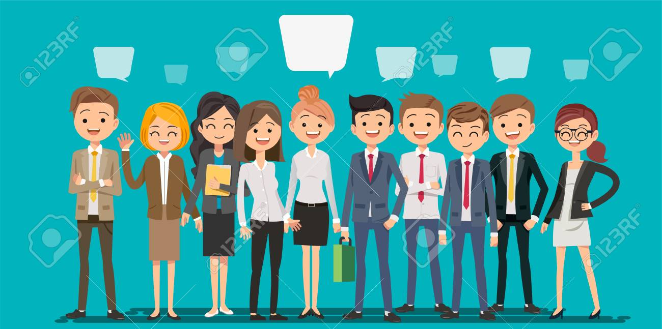 People creating business in cartoon style. Teamwork to finding a new idea working form. Looking deep into the meaning of the system. - 85325418