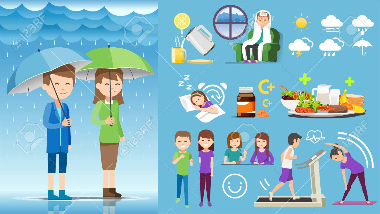Taking Health care during rainy season yourself. Element animation for infographic work. Happy activity. - 85326389
