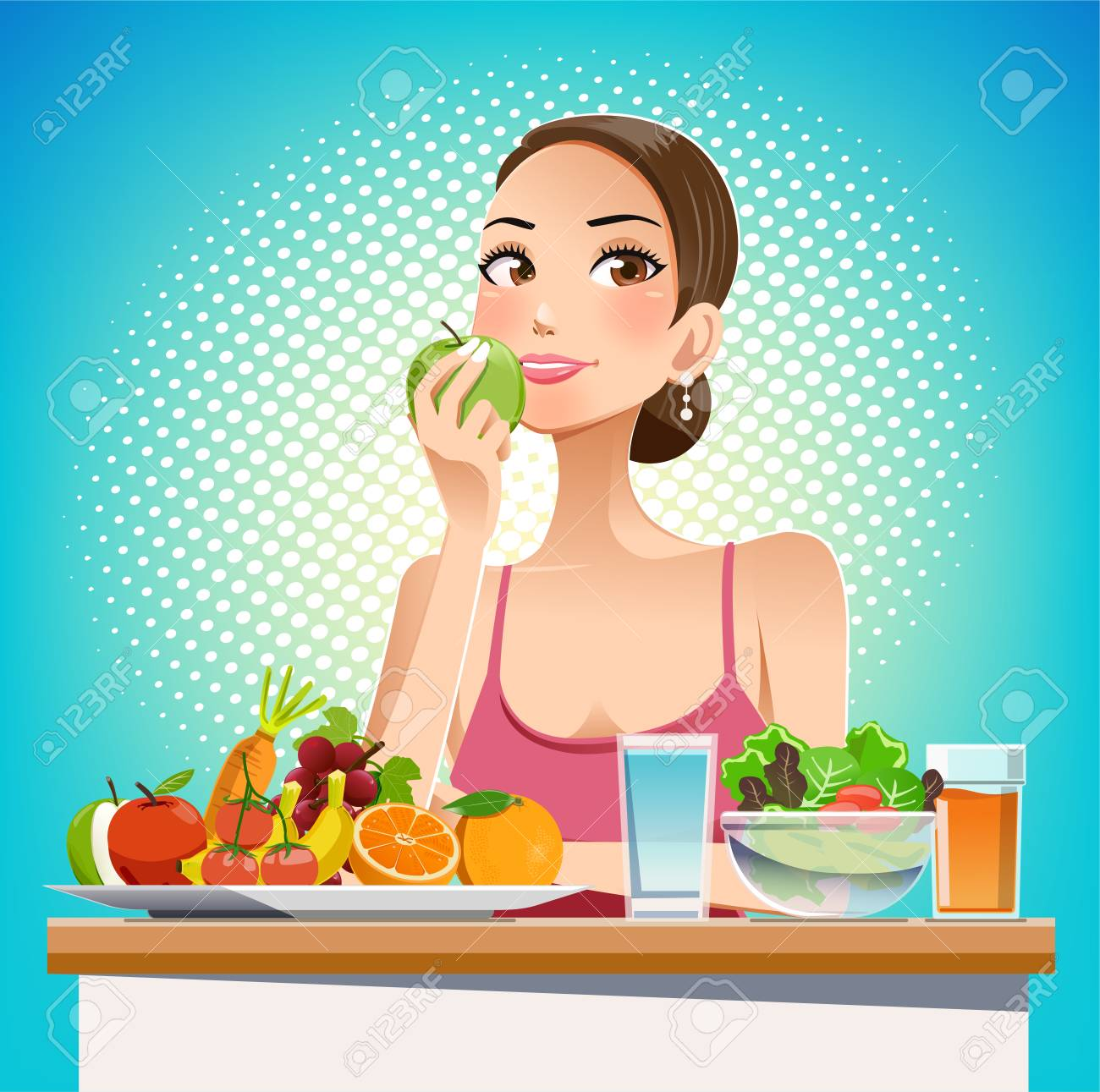 Eat for beauty. Eating for weight control. Caring for the body shape effectively. Food friendly. Pop cartoon graphic style. - 90859627