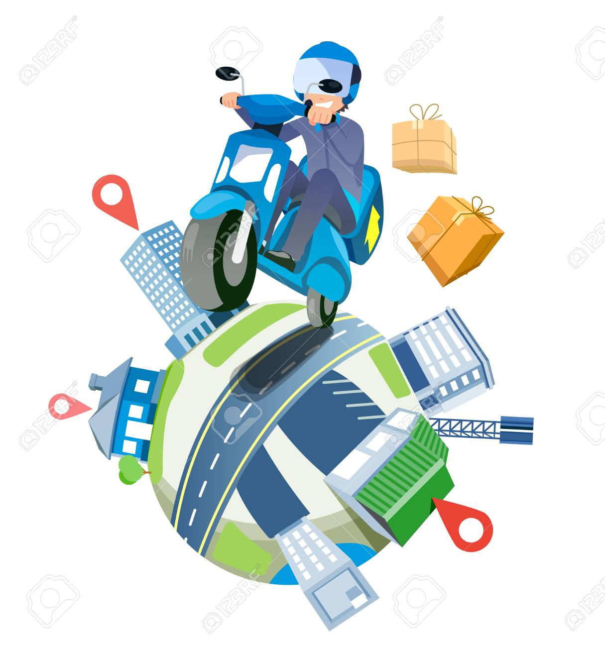 Delivery a parcel service by speedy motorcycles nationwide. shipping around the world concept. - 105391372