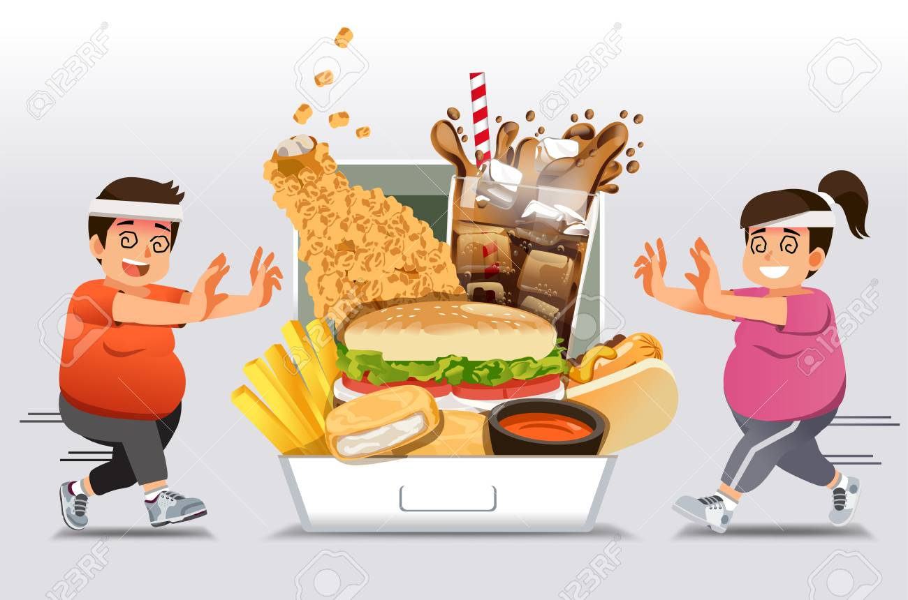 Exercise barriers for who Familiar with eating fast food want to lose weight. People give up a diet or exercise and happy return to junk food again. like a fat. - 104887941