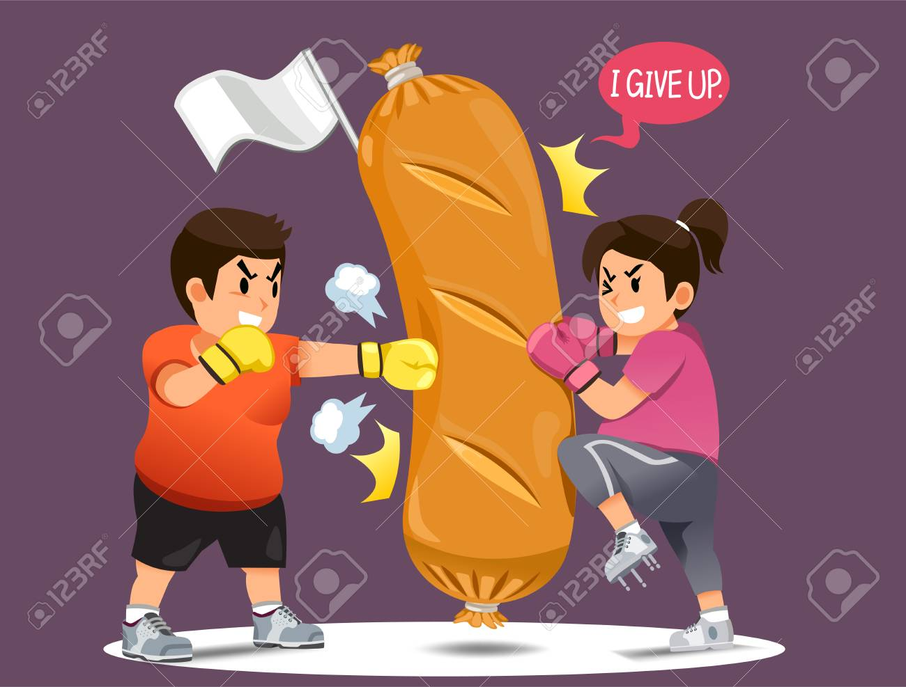 People overcoming the desire to eat junk food.Fight for weight loss. Winning your mind for a good shape. win A fast food in funny concept. - 104887949