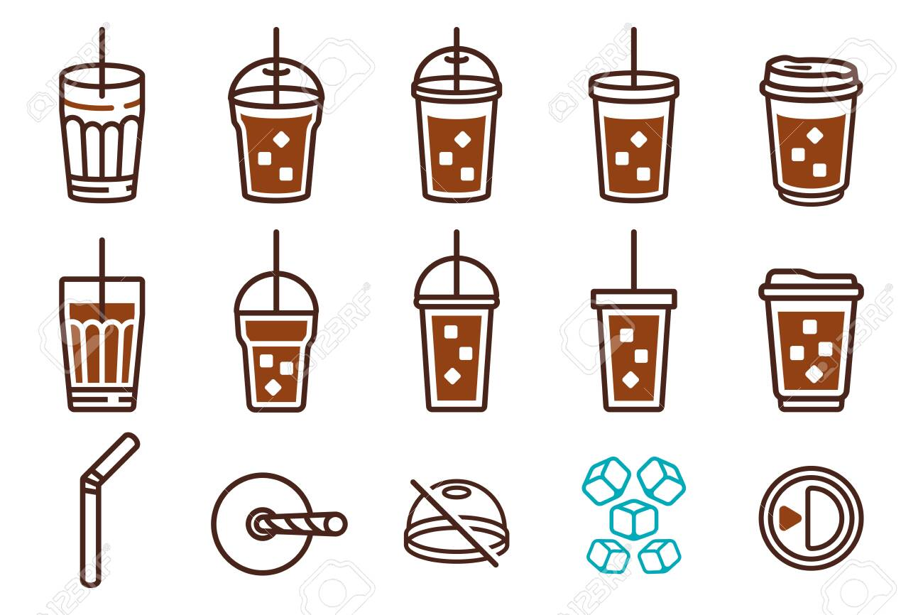 Iced Coffee Plastic Glass and Straw tube. icon set - 127512284