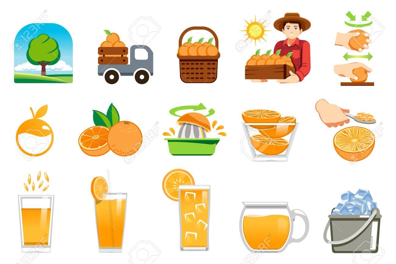 Orange farm product. Fresh juice for healthy lifestyle customer. - 128790485