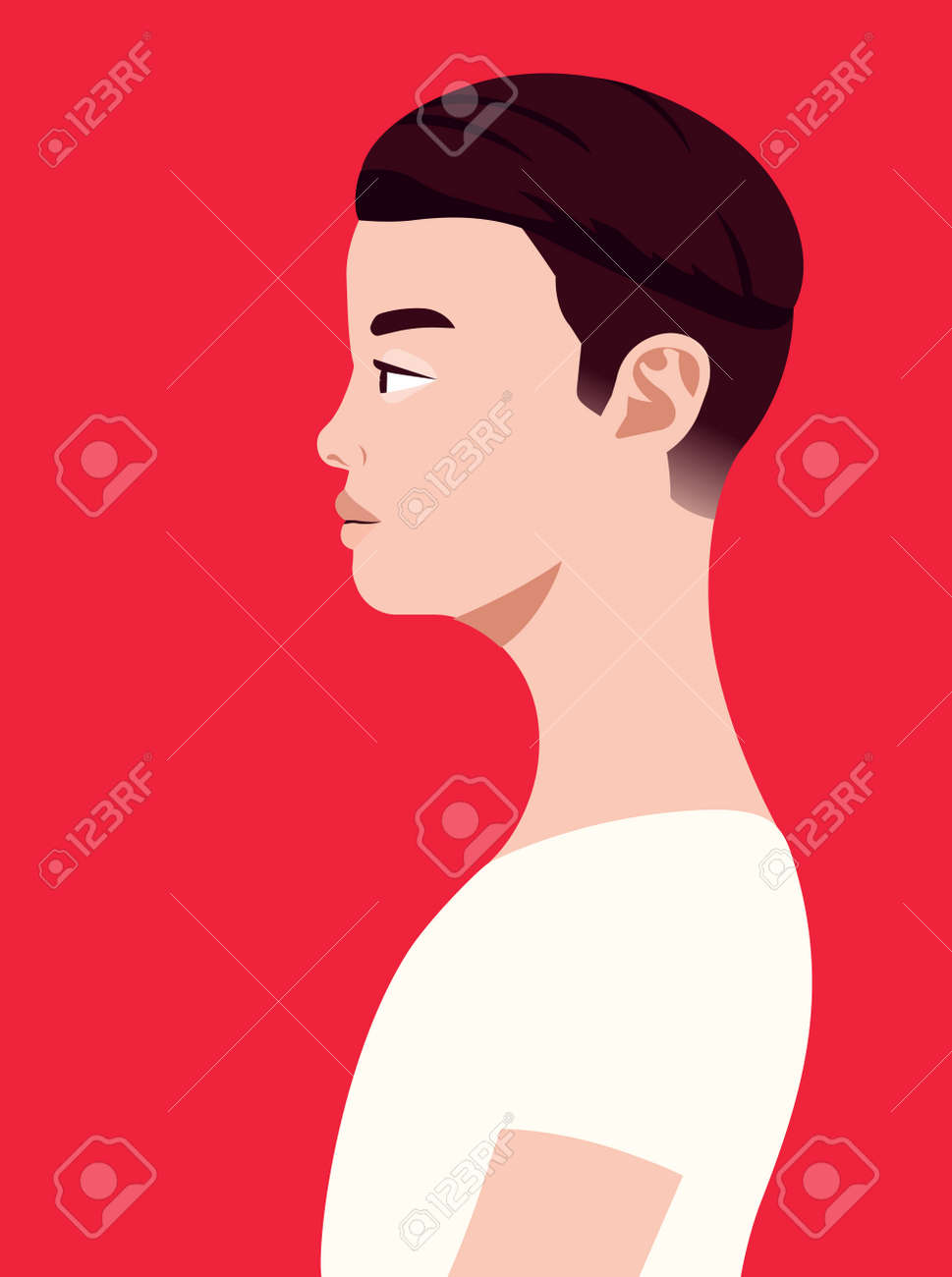 Handsome asian man of side view. Human simplicity of the globalized world. - 168070210