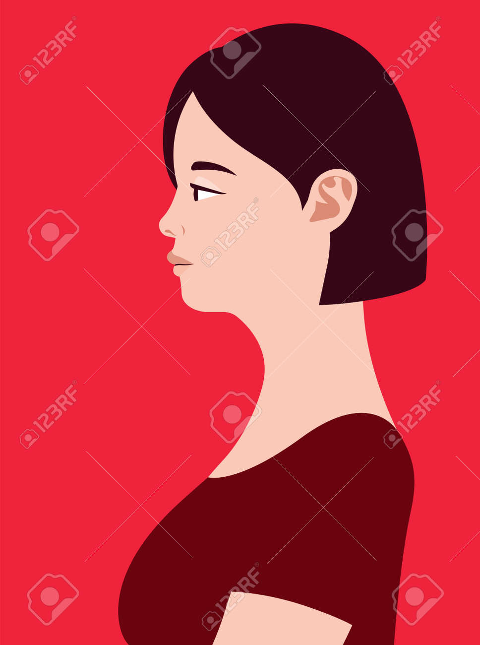 Beautiful fat asian woman of side view. Human simplicity of the globalized world. - 168070212