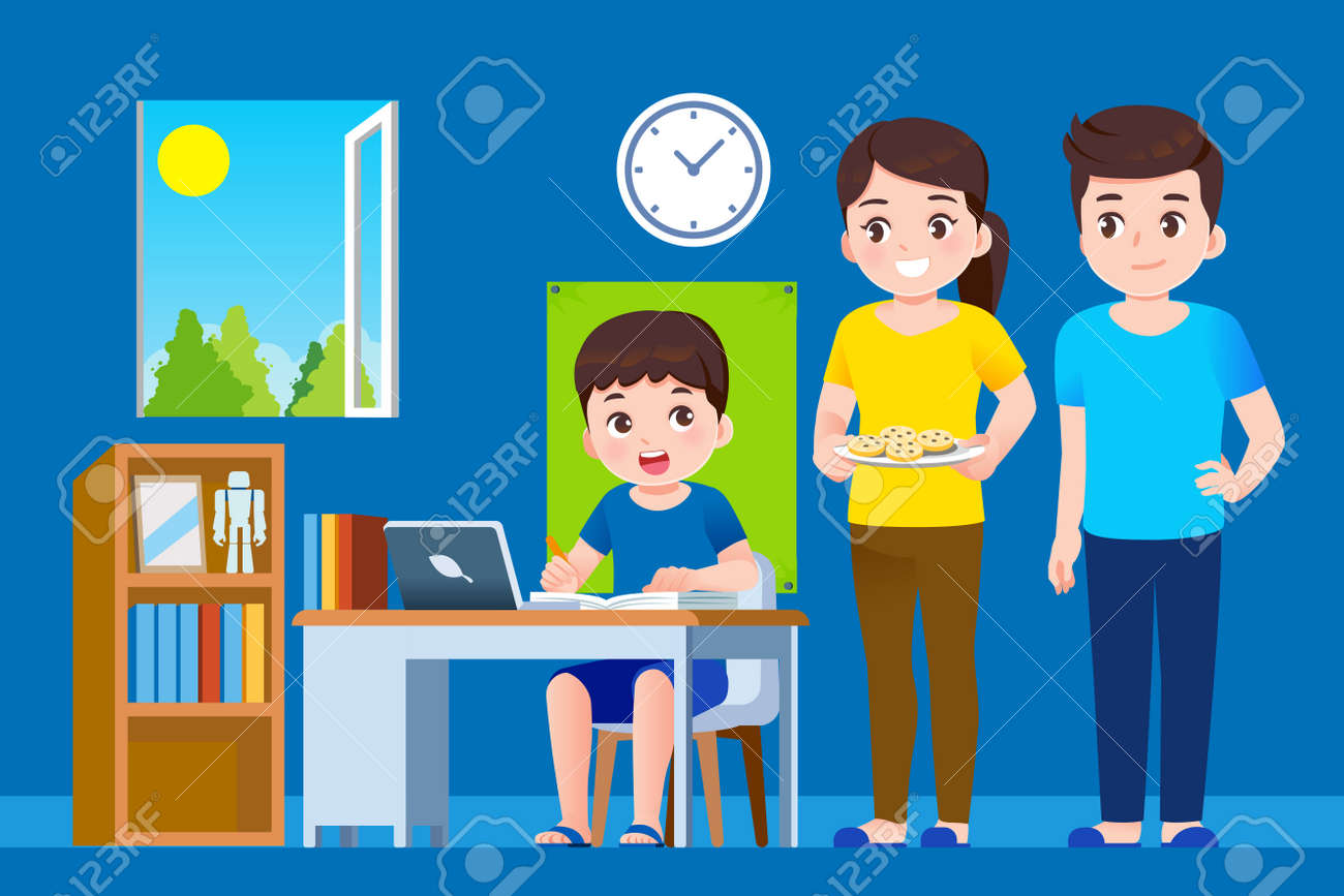 Parents and students help to management lesson the education at home. Online school concept. - 168924695