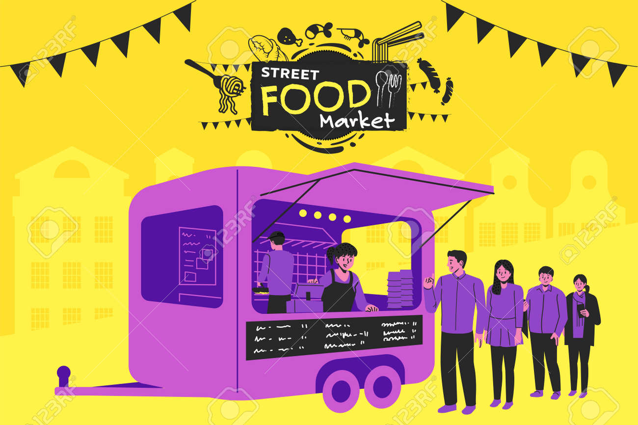 Setting up a street-market in the city. Street food truck style festival poster design. - 168924749