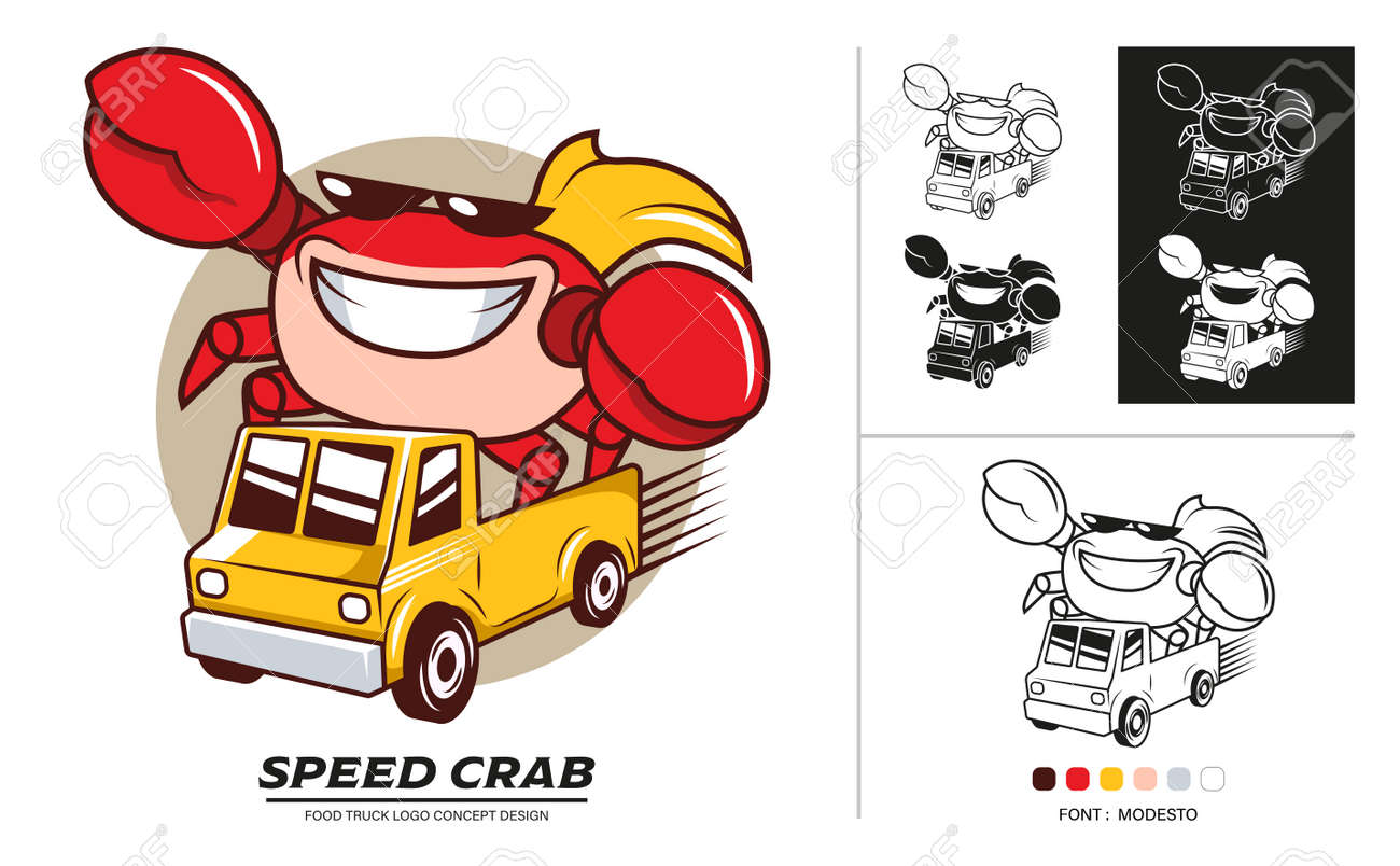 Food truck logo concept design. Delivery Seafood car service with speed. - 168924758