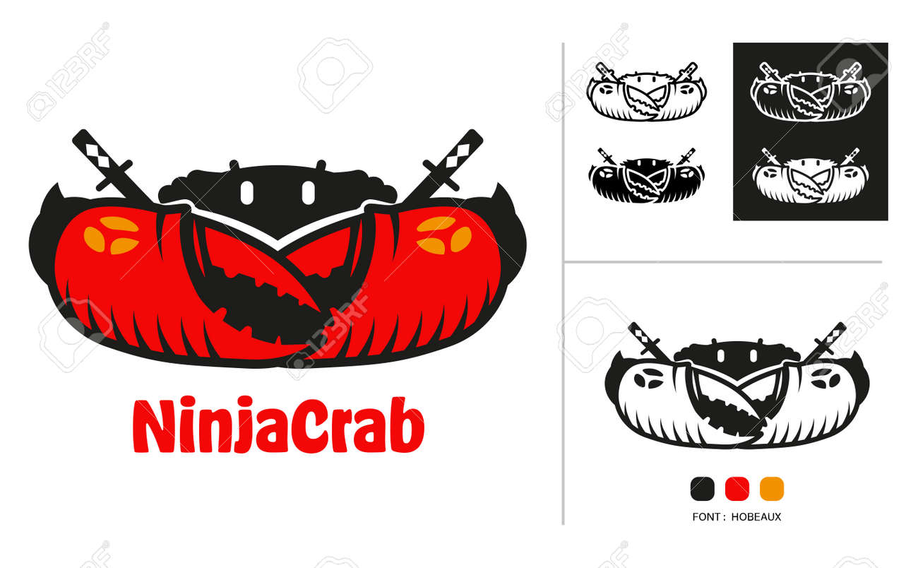 Ninja crab logo concept design for seafood restaurant, sport team and all every use for company. - 168924760