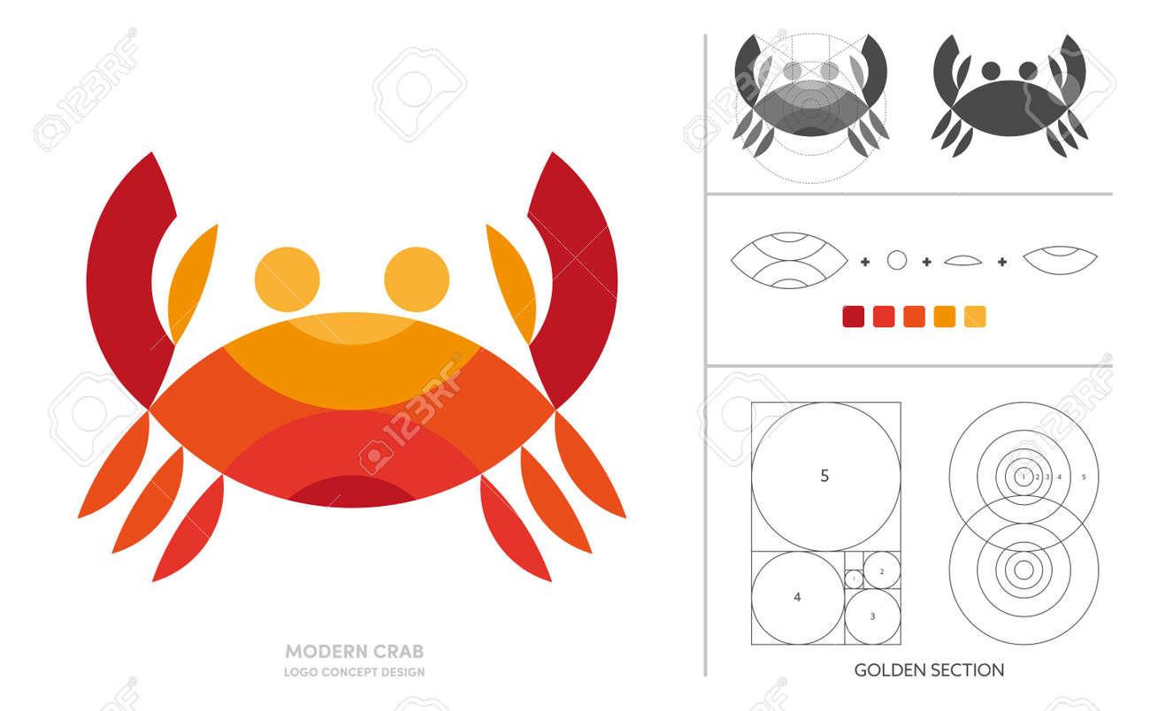 Crab minimal logo concept design composition with golden ratio. - 168924761
