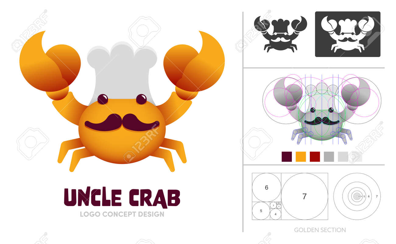 Crab chef cartoon character logo concept composition with golden ratio. Symbol for food product or restaurant. - 168924764