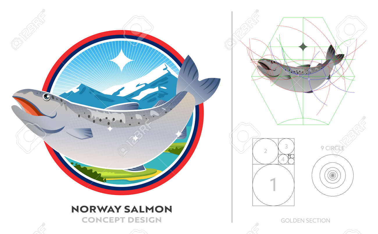 Salmon from norway in best river at mountain. Logo concept design with golden ratio. Banner of product fresh seafood. - 168924765