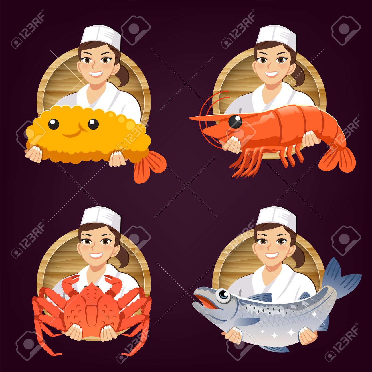 female japanese chef serve fresh ingredients. Seafood restaurant logo concept design. - 168924766