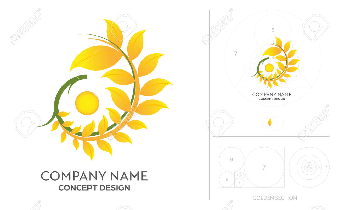 Rice farm brands or product from food company with golden ratio process concept design. - 170186211
