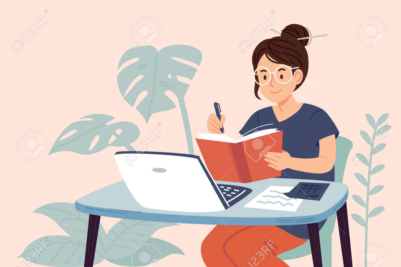 Student have manage lesson the education at home. Learning Online concept by yourself. - 170186233