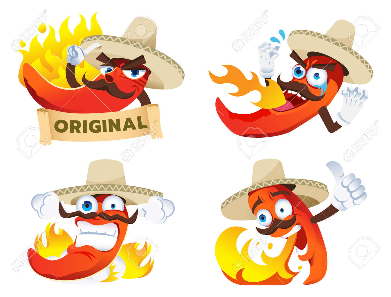 Chili cartoon character tasted a spicy from product's spiciness in Mexican style. Mascot for brands product concept design. - 170186240