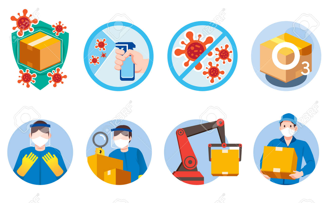 Staff inspect and transport goods to be safe from germs and viruses with science and technology. - 170186255