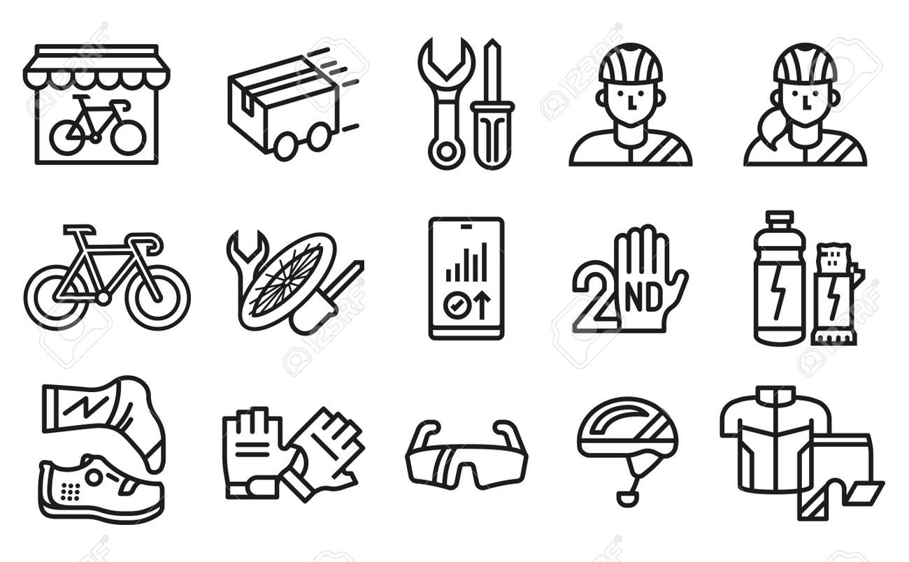 Symbol for distribution product, pre-owned change and maintenance bike services at shop bicycle. - 170186278