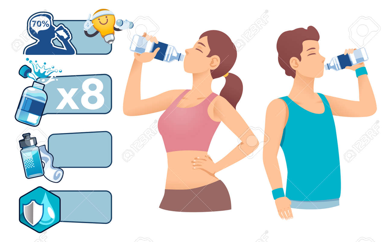 Banner for advice benefit ,value and importance of drinking water. Basic drinks for exercise. - 170186469