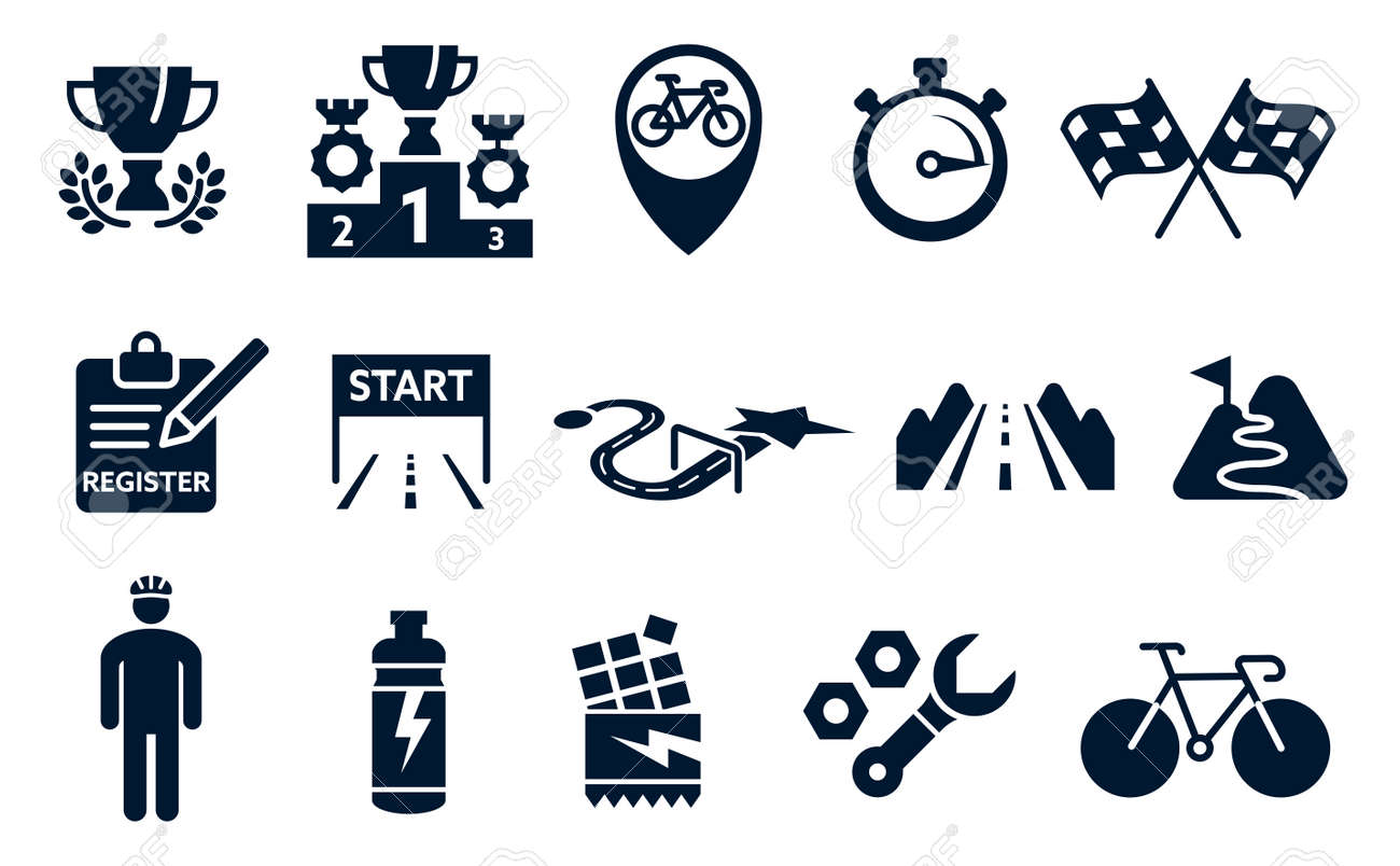 Bicycle tournament silhouette symbols concept. Icon for organizing a bike race. - 170186470