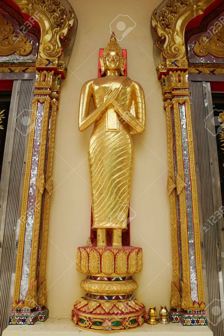 The stand gold buddha at Wat Huay Mongkol in Thailand Stock Photo - 18652458