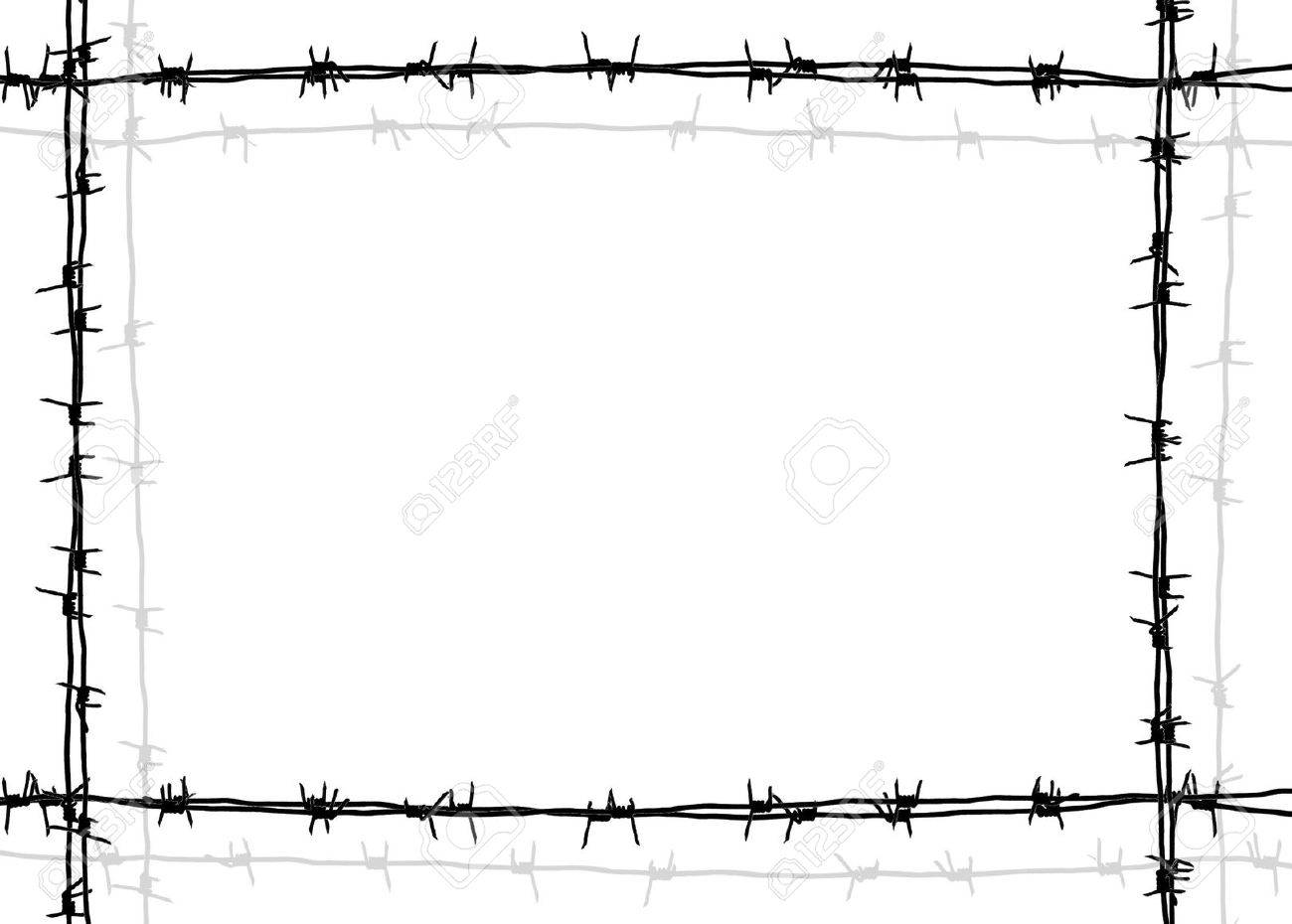 Barbed Wire Frame With White Background Stock Photo, Picture And ...