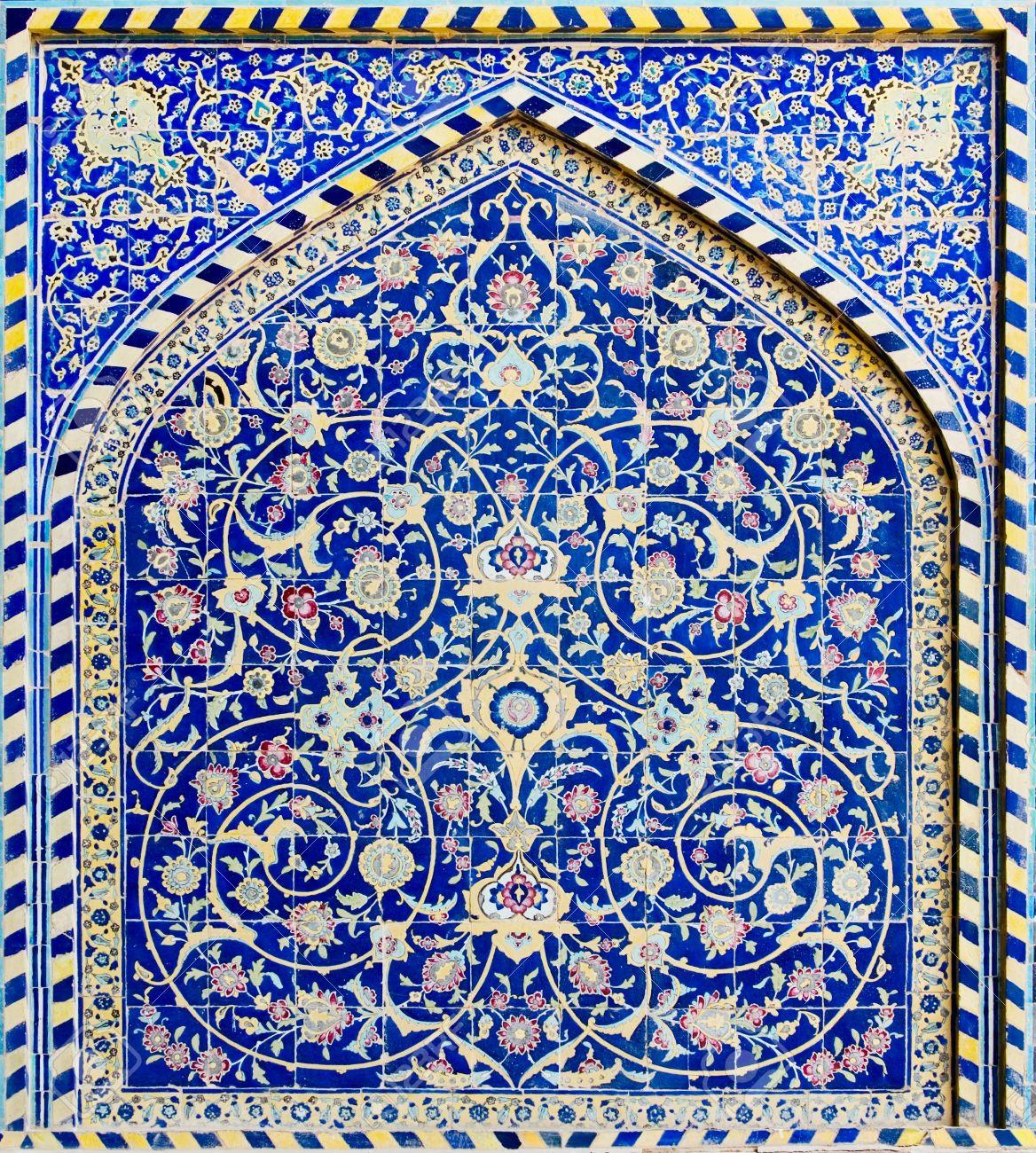 Carrelage De Fond Ornements Orientaux De La Mosquee D Ispahan Iran Banque D Images Et Photos Libres De Droits Image 950578