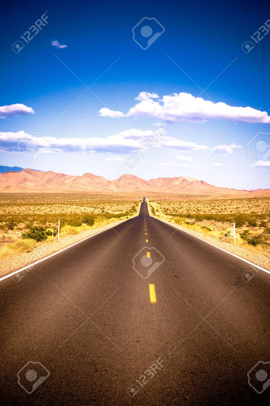 vibrant image of highway and blue sky Stock Photo - 3160106