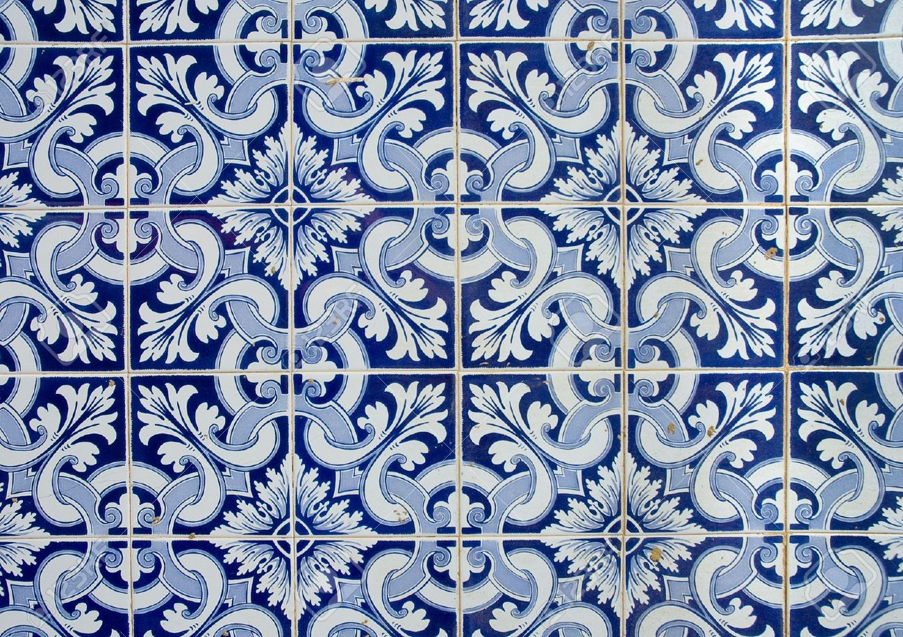 portuguese  azulejos, old tiled background Stock Photo - 3556407