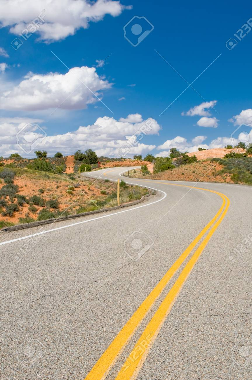 vibrant image of highway and blue sky Stock Photo - 4266336