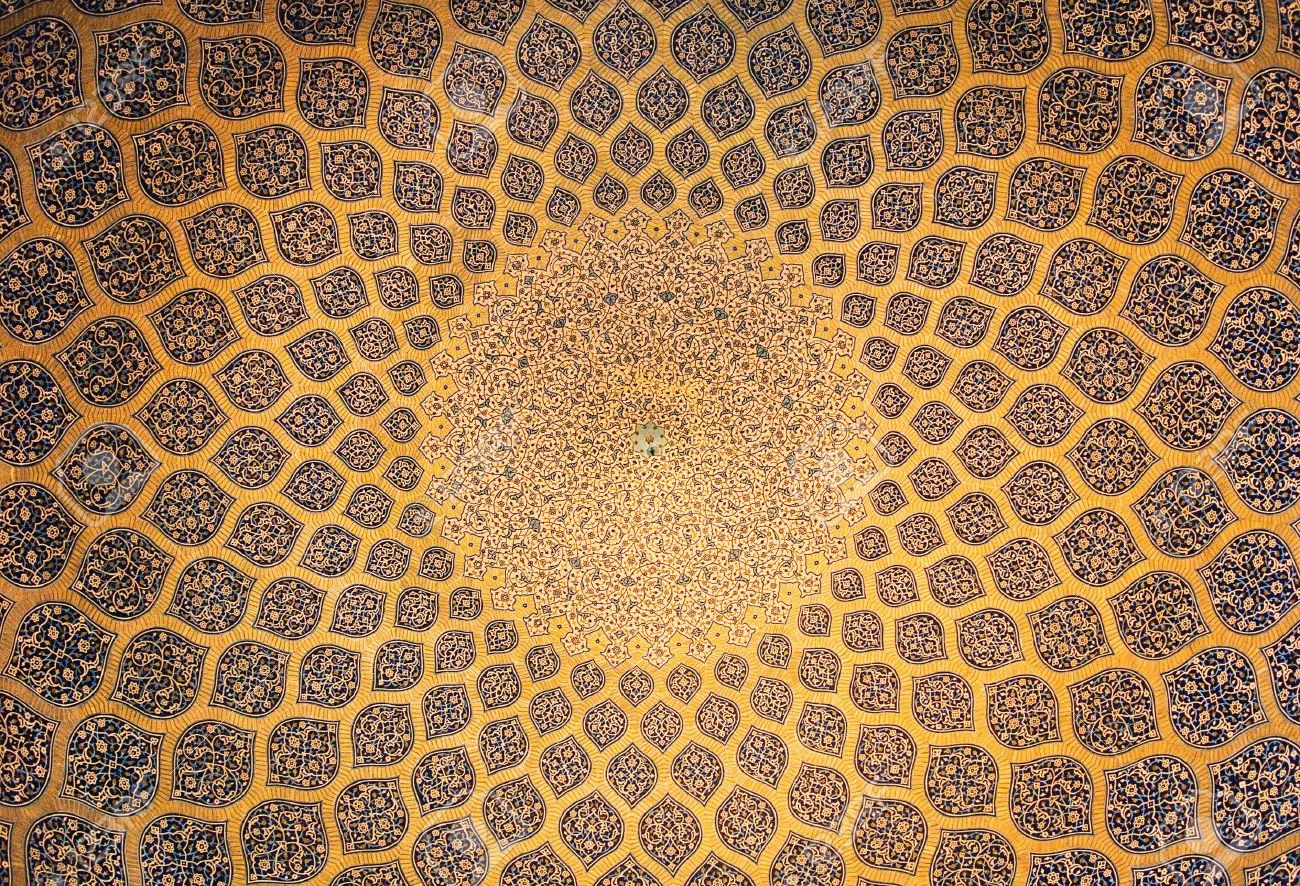 Dome of the mosque, oriental ornaments from Isfahan, Iran Stock Photo - 5599804