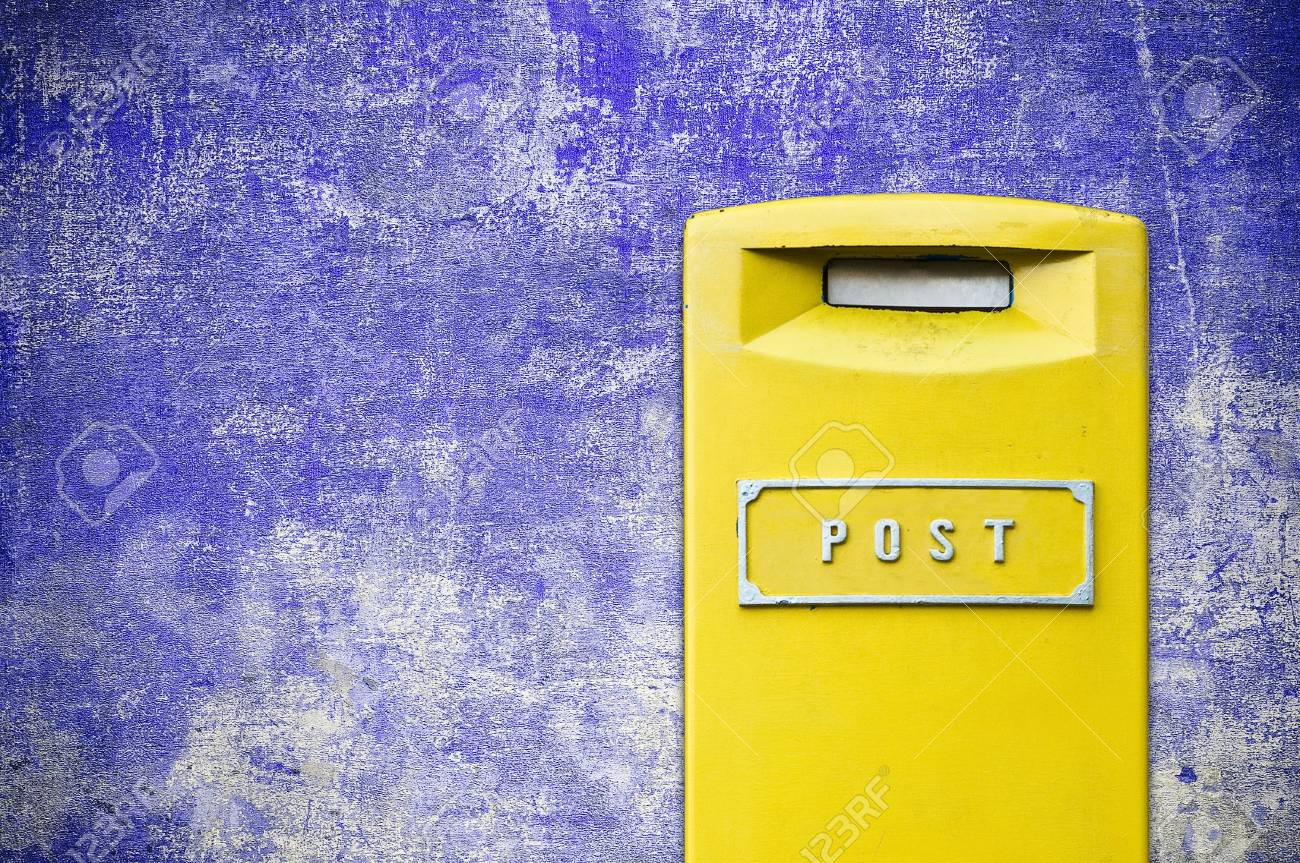 yellow mail-box over grunge background Stock Photo - 6402826