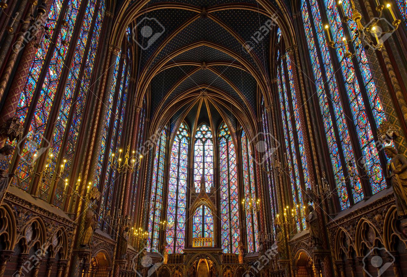 Interior Of Sainte Chapelle Paris France Stock Photo