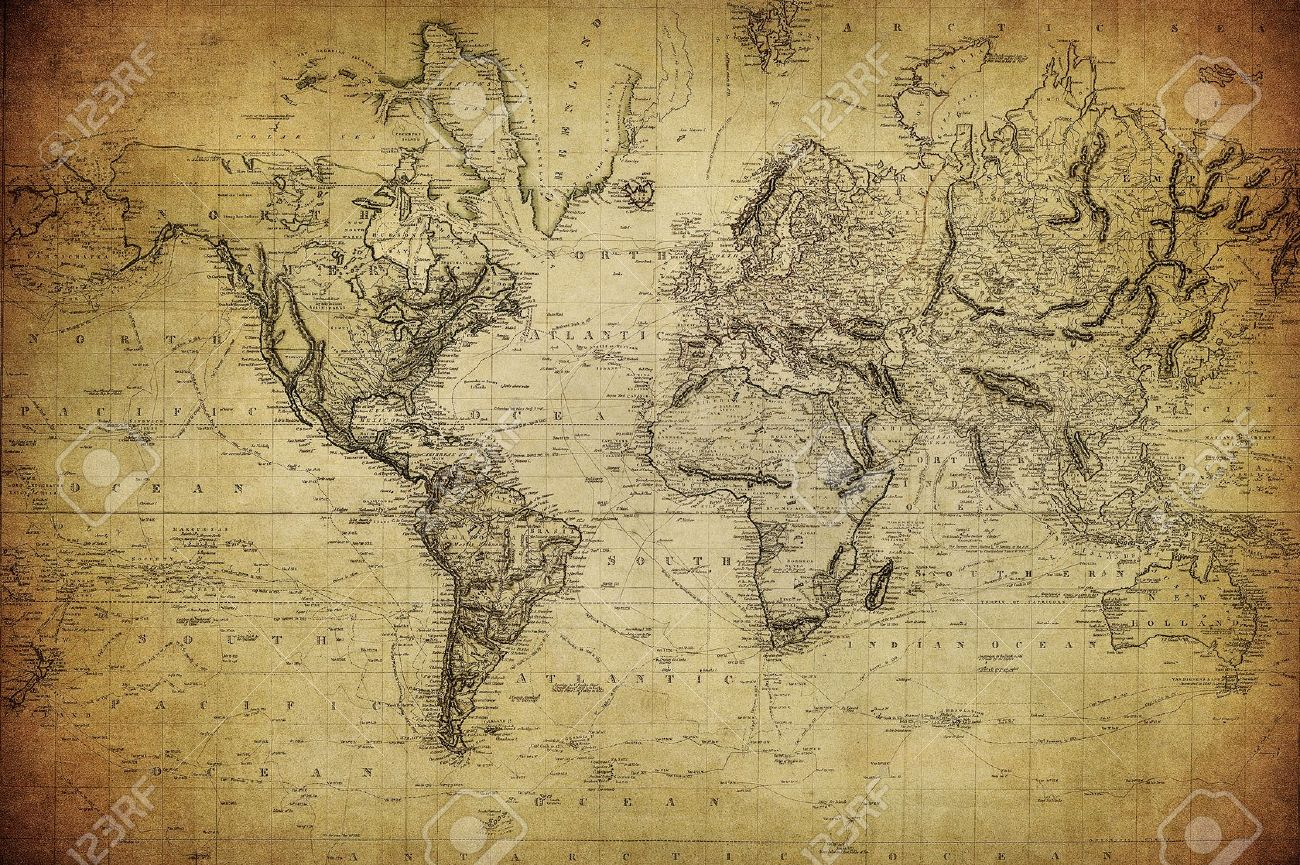 Vintage Map Of The World 1814 Stock Photo 15317377