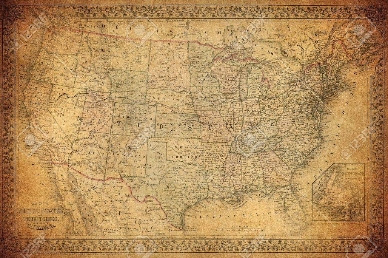 vintage map of united states Vintage Map Of United States 1867 Stock Photo, Picture And Royalty
