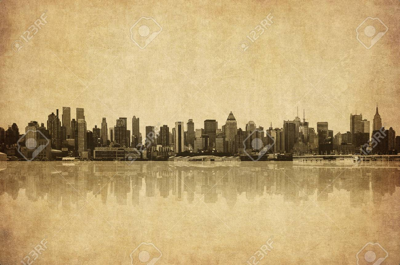 Grunge Image Of New York Skyline Stock Photo, Picture And Royalty ...