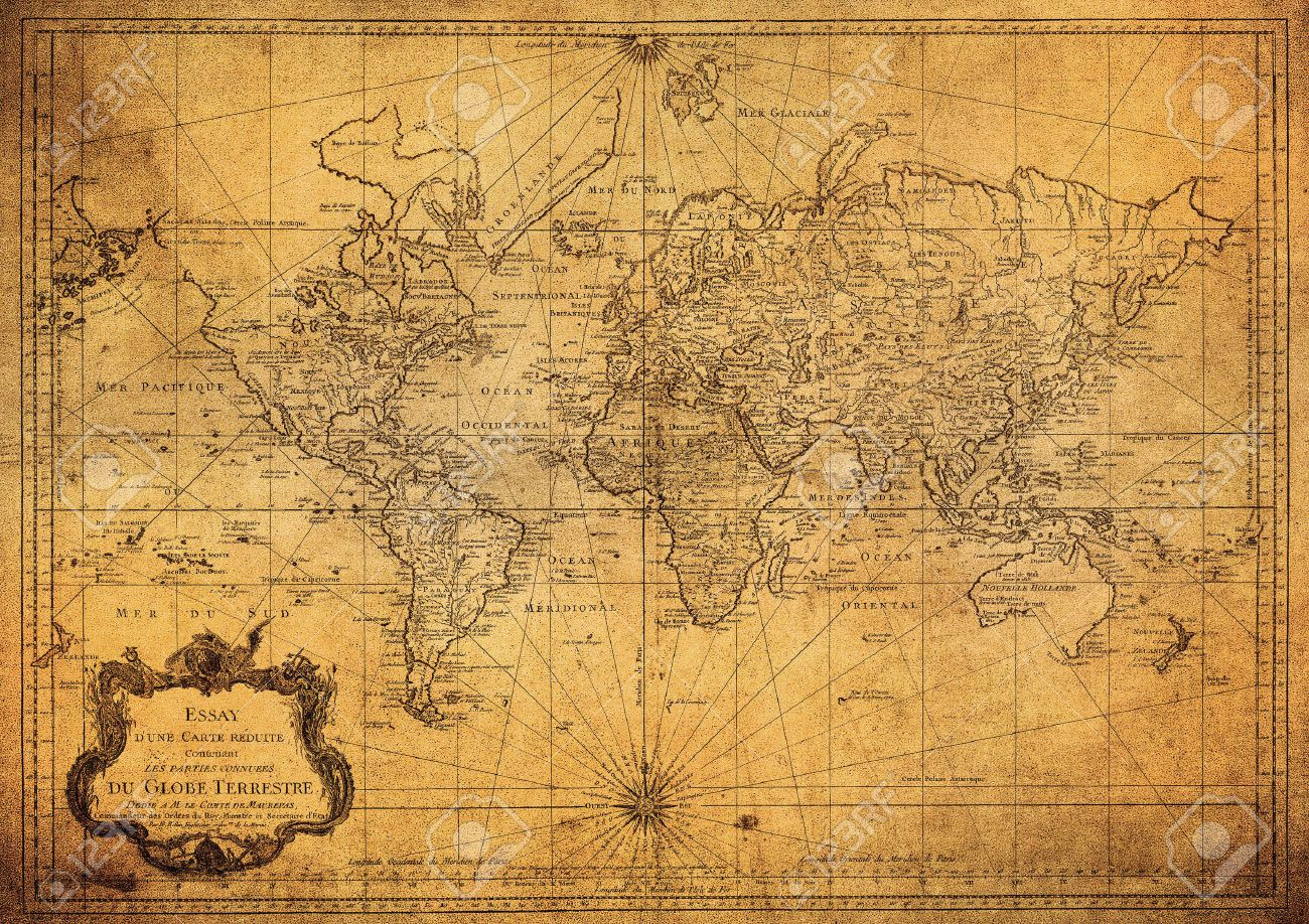 Vintage Map Of World.Vintage Map Of The World 1778 Stock Photo Picture And Royalty Free